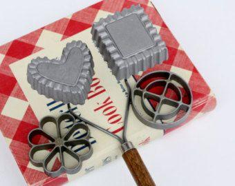 Vintage rozet ijzeren Set-Scandinavische-Nordic Christmas-Nordicware-bakken mallen-Housewares-Christmas Cookies-antieke keukens-bakken gereedschap