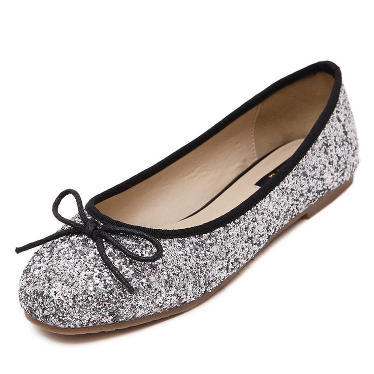 Bling Glitter Ballet Flats 2016 Loafers Casual Silver Shoes Woman Fashin Bowtie Slip On Women Flat Shoes Size 35-40 XWD4496