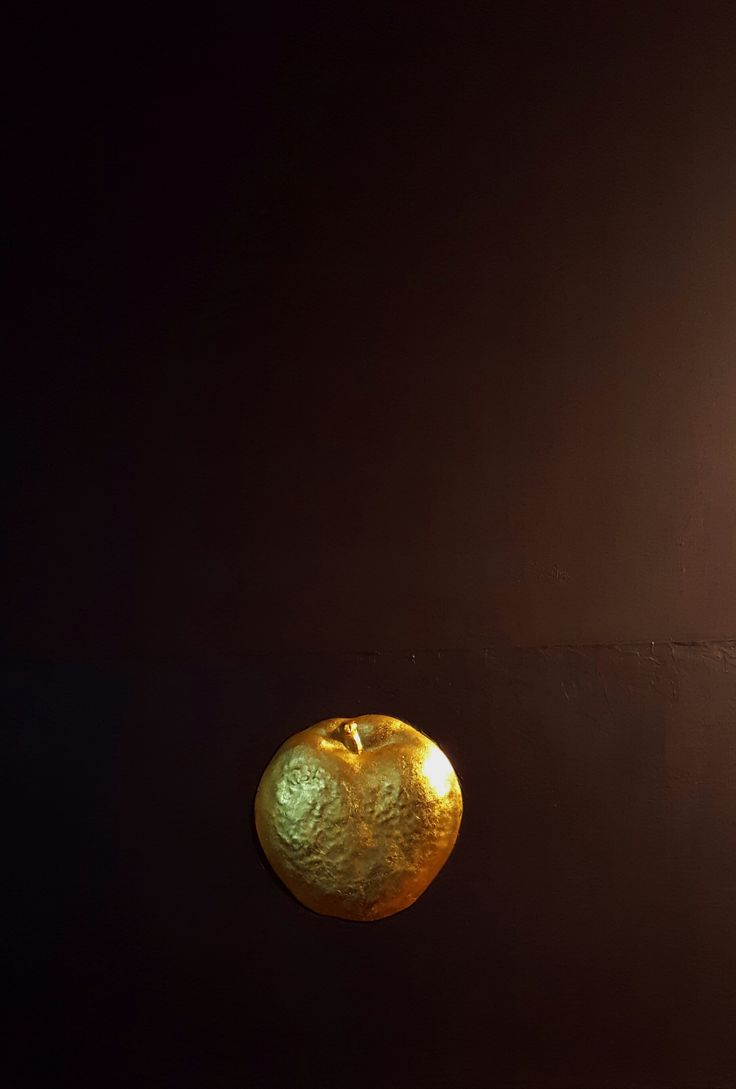 apple/acrylic,gel-relief,gold leaf on canvas/ 53x73cm/2016