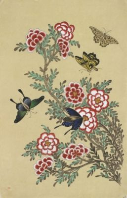 Butterflies and flowers / Color on korean paper, 2012 / 35 x 57 cm (13.8 x 22.4 inch)