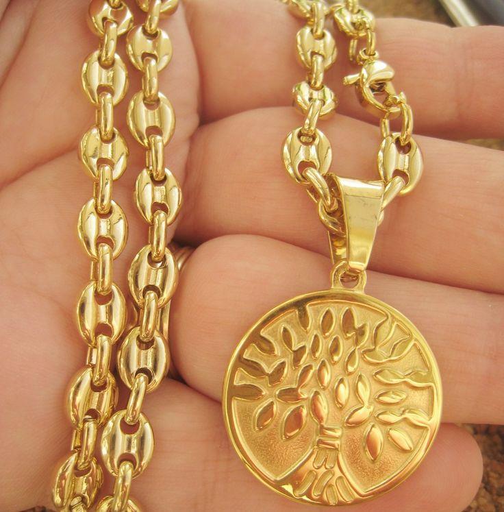 Poze Lant +medalion INOX  placat  ( otel inoxidabil ) cod mihasem625