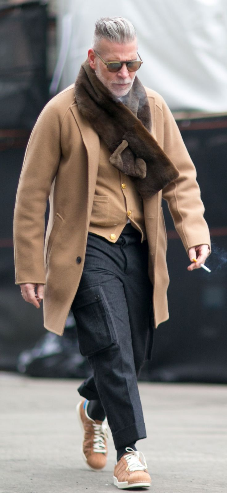 Nick Wooster in a camel coat during NYFW. | Via IMAXTREE