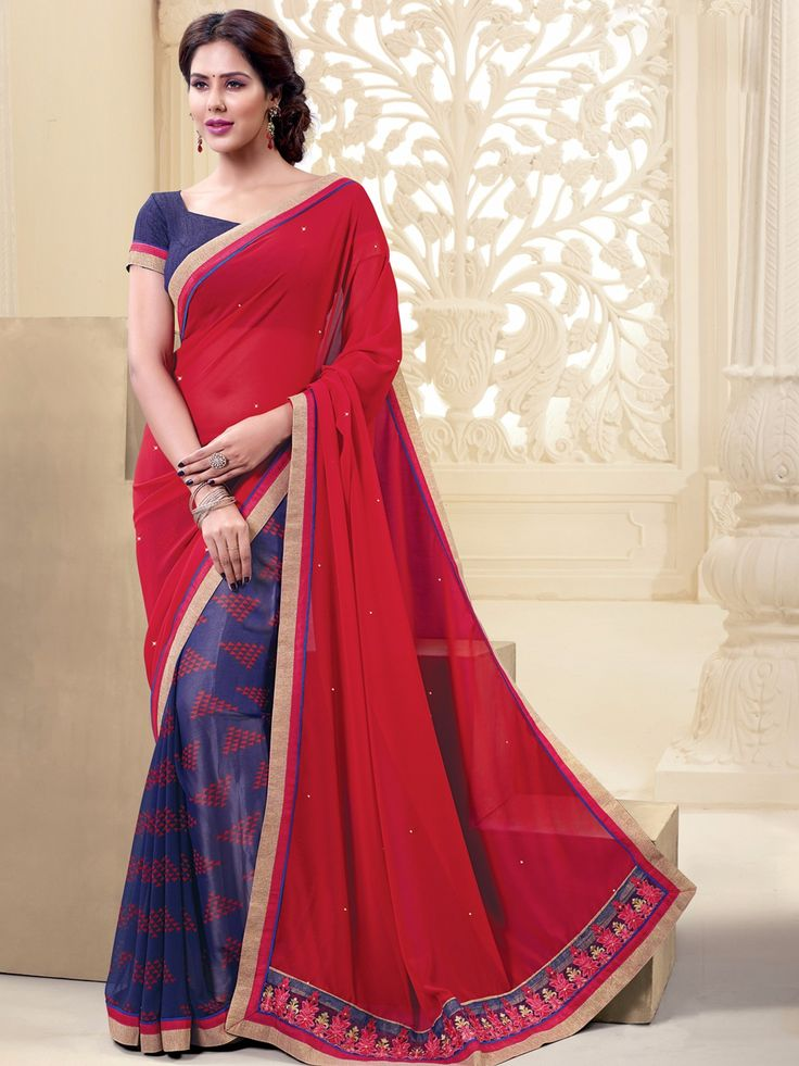 Printed Red Blue Georgette Festive Wear Half And Half Saree