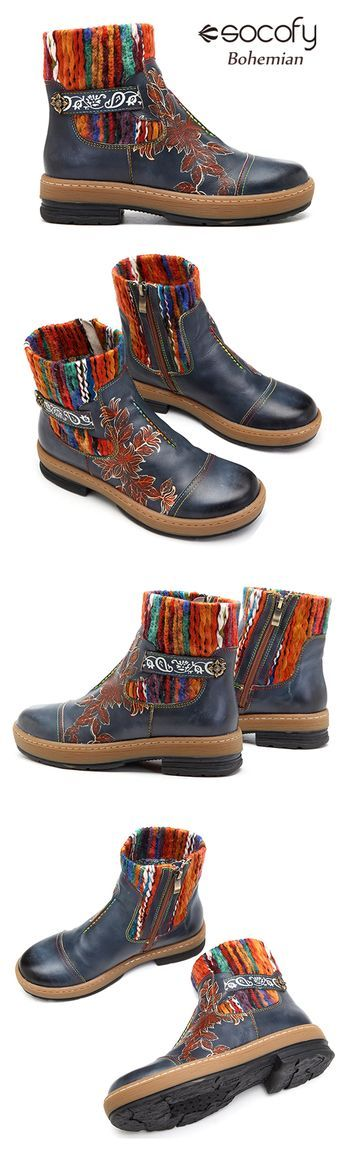 US$56.54 SOCOFY Bohemian Color Match Pattern Ankle Flat Leather Boots