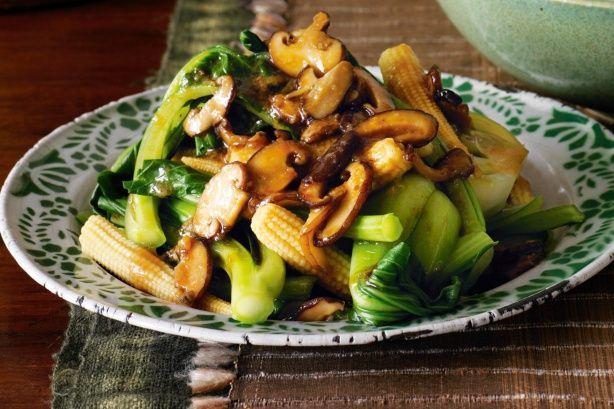 Asian greens and shiitake mushrooms main image