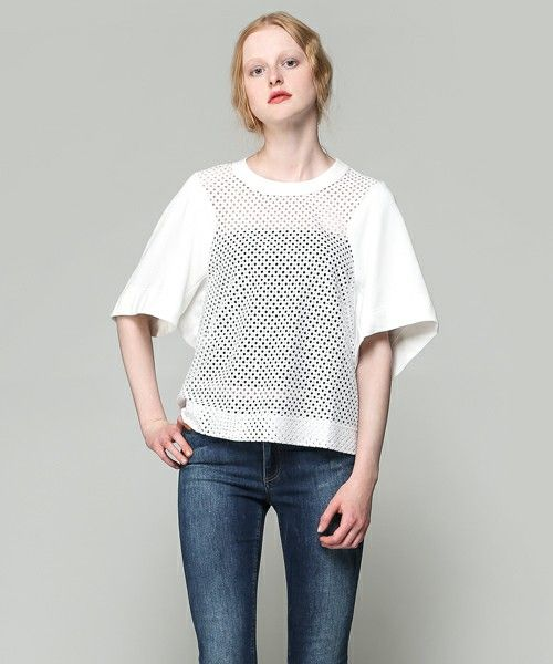 SEE BY CHLOE(シーバイクロエ)のLACE&FLEECE(Tシャツ/カットソー) ホワイト