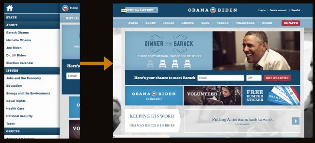 Obama responsive navigation  http://bradfrostweb.com/blog/web/responsive-nav-patterns/