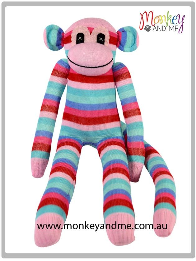 Three Pink stripes three Blue stripes thin Sock Monkey Adopt over at monkeyandme.com.au #sockmonkeys #gifts #toys #monkey