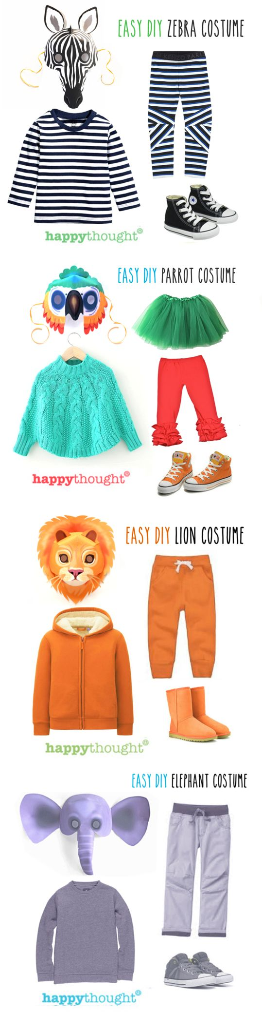Easy and fun DIY wild animal costume ideas using Happythought printable animal mask templates! Put together a Elephant, Lion, Parrot or Zebra costume in minutes! Printable mask patterns ready for instant download at https://happythought.co.uk/product/printable-wild-animal-masks