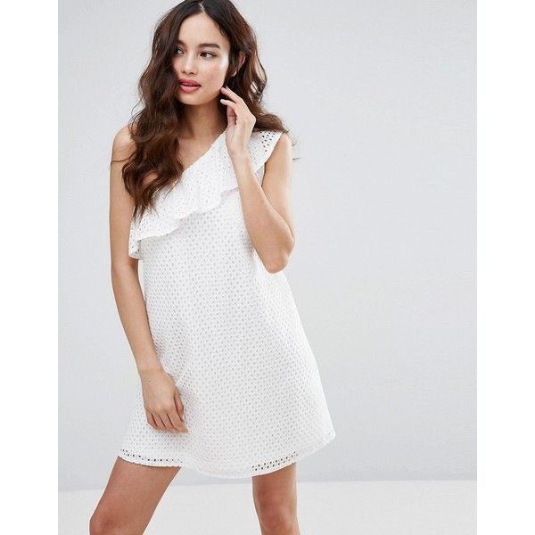 Fashion Union One Shoulder Dress (€39) ❤ liked on Polyvore featuring dresses, white, white ruffle dress, holiday party dresses, little black party dress, white dresses and one shoulder white cocktail dress