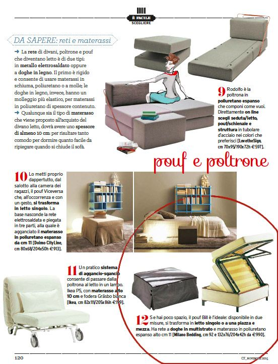 Surprise guests? A solution is the practical #PoufBed Bill, suggested by the Italian magazine #CasaFacile.
