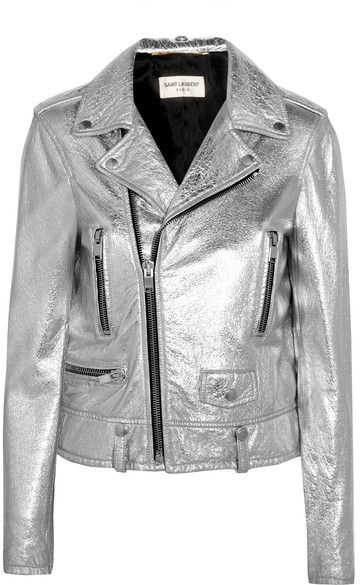 Silver leather motorcycle jackety by Saint Laurent on ShopStyle.