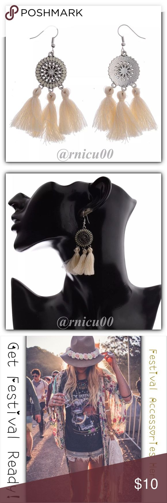 🆕Boho Festival Ready White Tassel Flower Earrings Adorable New Arrival Today, Fun Cotton String Tassel Earrings in 3 Different Colors! 📿Get Festival Ready & Get all your Boho Accessories Here!!📿 Feather, Tassel & Bead Earrings are a TOP TREND this Year! Perfect Accessory for your Festival Dress with White Tassels & Silver Flower Detailing-these are Amazing! 🕶 Hook Style for pierced ears, Not heavy👌  *NO TRADES *Prices are FIRM-Listed at Lowest Price Unless BUNDLED! *Sales are…