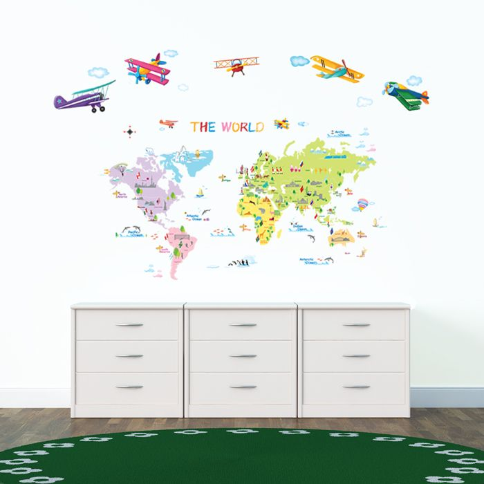 Multicoloured World Map Hot air balloons in the sky Wall StickersThe Multicoloured World Map Wall Stickers from DecoWall can create a learning