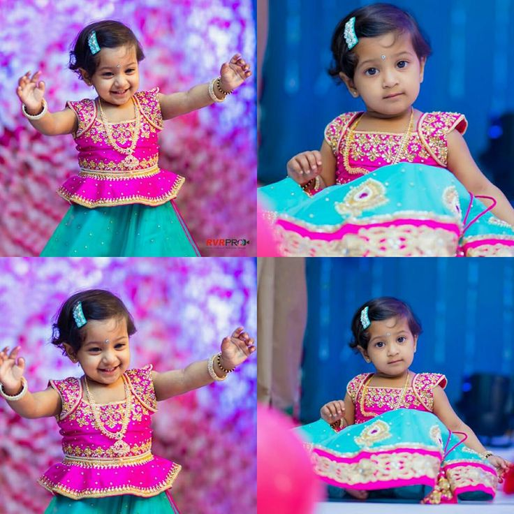 Adorable Kid Pink Blue Lehenga - Indian Dresses