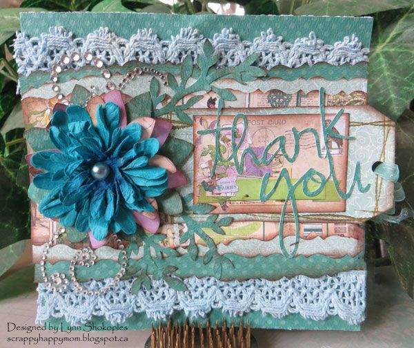 BoBunny designer Lynn Shokoples created this lovely card featuring the Enchanted Garden collection. Love the lace peeking out of the layers. #BoBunny, @scrappyhappymom