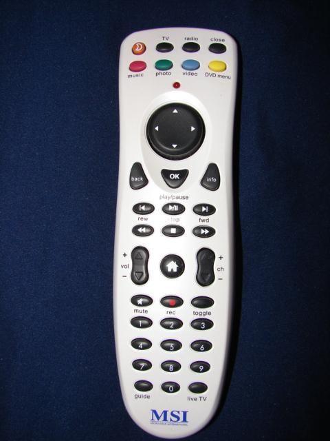 MSI Micro-Star International Remote Control tv radio music photo video dvd player white