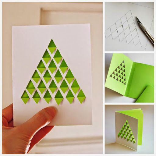 handmade Christmas/geometric card ... tree of triangles folded down ... shown in four photos ...