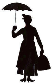 Mary Poppins aloft... A silhouette of Mary Poppins with her umbrella up would be cute on the wall as party decor.