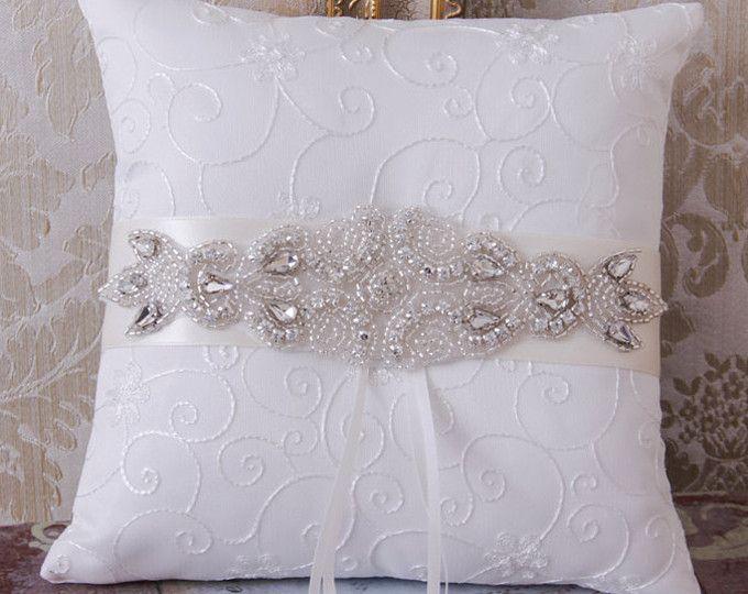 Diamantes de imitación boda, anillo portador almohada, cristal anillo de boda portador almohada