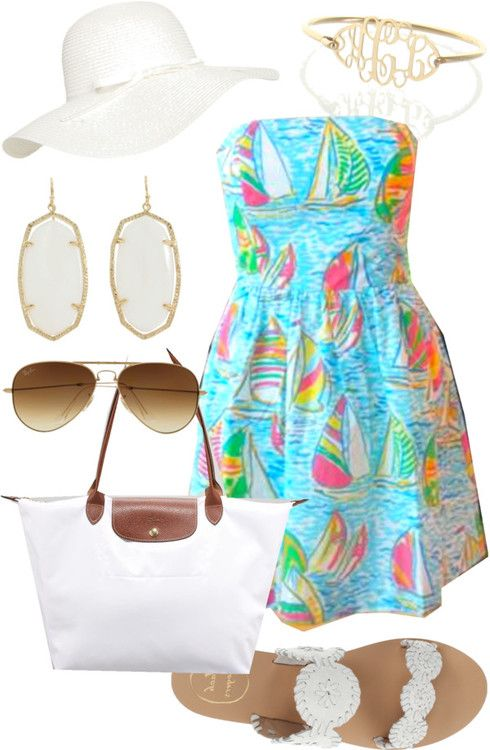 Jack Rogers sandals / Longchamp folding tote bag / Monogram bracelet / Wet Seal floppy hat / Ray-Ban ray bans/ Lily Pulitzer dress.