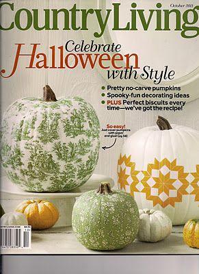 Decoupage a pumpkin to match your decorDecoupage Pumpkin Lov, Decopage Pumpkin, Country Living Magazines, Decoupage Tutorial, White Pumpkin, Holiday Crafts, Design, Crafts Pumpkin, Crafty Pumpkin