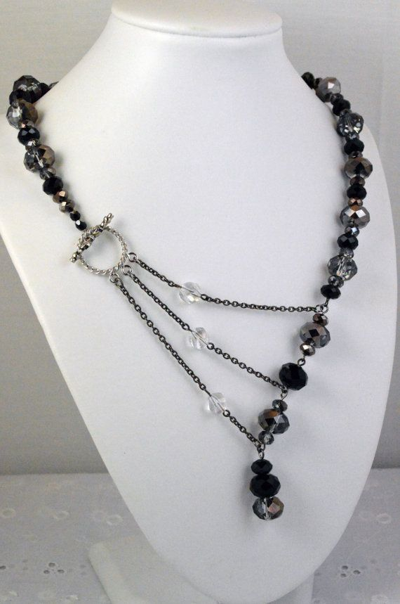 Black and Silver Crystal Adrienne Adelle Signature Necklace on Etsy