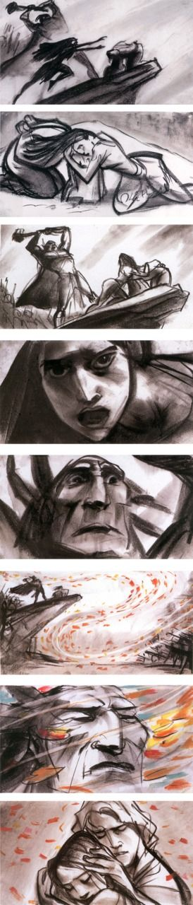 Disney's Pocahontas storyboard - clearly shows the emotion behind the scene - action in the swirling lines and diagonal body. Contrast of black and white. Repetition of shapes in the swirls