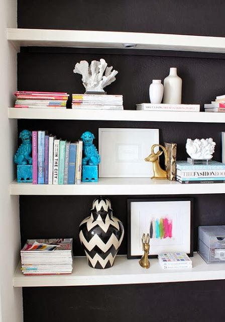 Like the idea of painting an alcove one colour and having the shelves another colour
