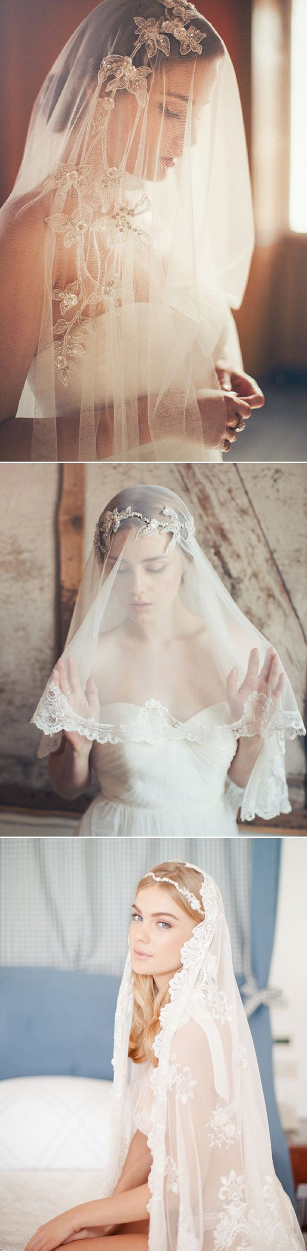 25 Stunning Lace Veils for Stylish Brides - Jannie Baltzer  Bridal Veils // Aisle Perfect