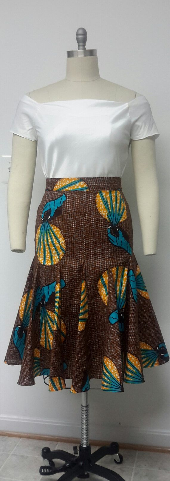 African Print. Fitted Gored Midi Skirt. Fully Lined. Womens. Handmade. Ankara. Available in other Fabrics. All Sizes. (affiliate)