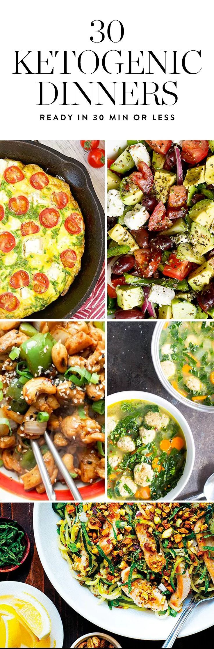 Low in carbs and able to be made in about 30 minutes, these 30 Ketogenic Dinner Recipes will help you stay on track with your nutrition goals.