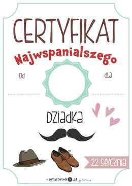 Certyfikat najwspanialszego Dziadka - Printoteka.pl