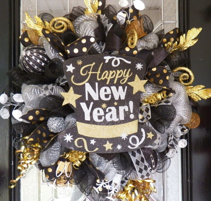 New Year's Wreath, New Year's Eve Party Decoration, Front door Wreaths, Deco Mesh Wreath, Door Hanger, Happy New Year by OccasionsBoutique on Etsy