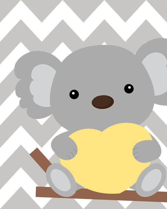 Yellow and gray nursery Nursery Koala Art Koala от ChicWallArt