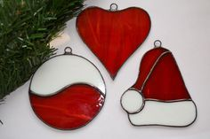 Set of 3 Stained Glass Christmas Decoration by ZangerGlass on Etsy