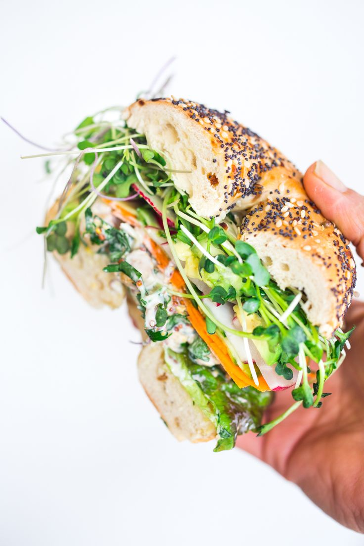 Spring Goddess Sandwich with herby chickpea salad, crunchy carrots & radishes, cucumber, avocado and sprouts. Vegan and Gluten-free adaptable!