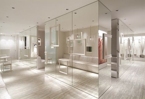 Dressing rooms surrounded by mirrors