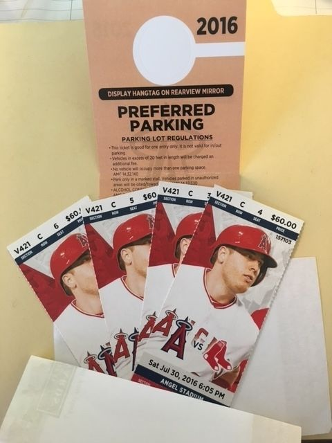 Angels vs. Red Sox, 4 Season Tickets with preferred parking included. The tickets are behind home plate, on View Level, 3 rows back from the rail. Loc... #angel #stadium #boston #anaheim #angeles #angels #tickets