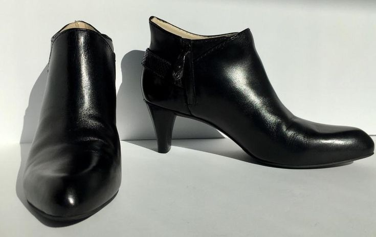 Cole Haan Black Leather Kit Booties II Air Orn Ankle Heel Boots Buckle Size 9.5  | eBay