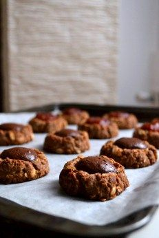 """Wholegrain Thumbprints with Homemade """"nutella"""" or apple butter"""