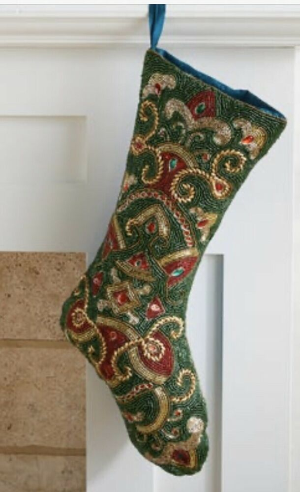 Pier One Christmas 2020 Pier 1 Imports 1 BEADED GREEN RED GOLD CHRISTMAS STOCKING Pier One
