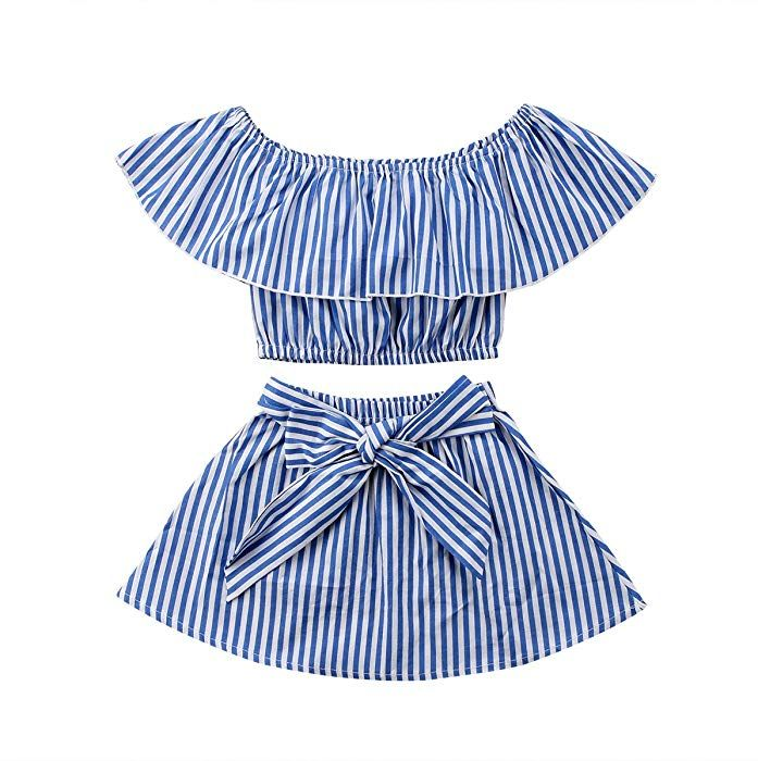 Summer Toddler Kids Baby Girls Cute Princess Bowknot Striped Dress Outfits