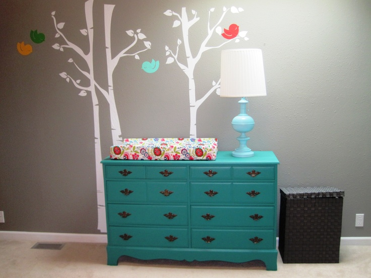 CL Dresser Painted For Changing Table Tree Wall Decals In Zs Room Teenage BedroomsIdeas Living