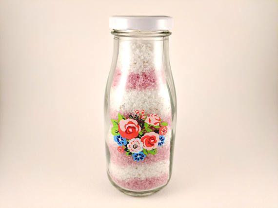 Handmade Striped Lavender Bath Salts in a Floral Glass Milk