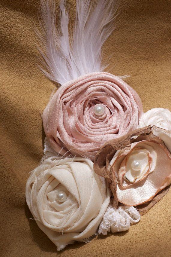 vintage wedding flower hair piece beige cream by sunshowerflowers #weddinghair #wedding #weddingdecor #upcycled #vintage #shabbychic #flowergirl #flower #etsy #fabricflower #lace #vintage #vintagelace