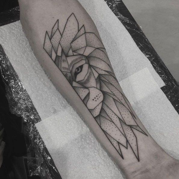Geometric lion tattoo by Jamie Eddy