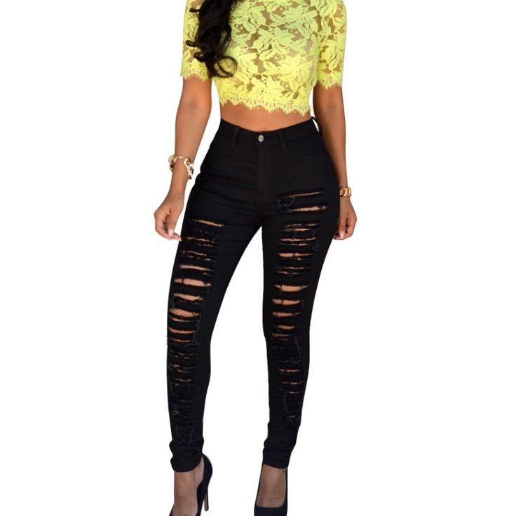 $9.73 (Buy here: https://alitems.com/g/1e8d114494ebda23ff8b16525dc3e8/?i=5&ulp=https%3A%2F%2Fwww.aliexpress.com%2Fitem%2FNew-Fashion-2016-High-Elastic-Women-s-Black-High-Waist-Torn-Jeans-Ripped-Hole-Knee-Skinny%2F32702097128.html ) New Fashion 2017 High Elastic Women's Black High Waist Torn Jeans Ripped Hole Knee Skinny Pencil Pants Slim Capris for just $9.73