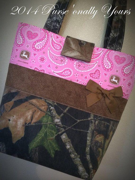 Mossy Oak Camo John Deere Pink Paisley Purse Tote by purse4you