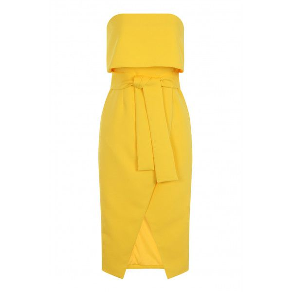 Lavish Alice Canary Yellow Bandeau Cropped Tie Front Midi Dress ($84) ❤ liked on Polyvore featuring dresses, tie front dress, bandeau midi dress, crop dress, summer midi dresses and yellow day dress